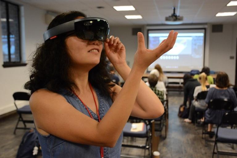 Woman wearing HoloLens