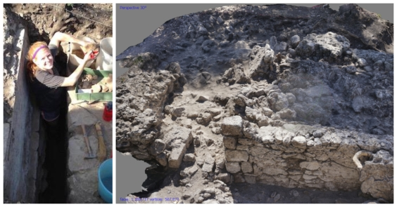 collage of emily and dig site in Cosa, Italy