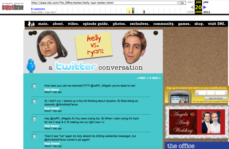 screen shot of NBC web page showing tweets between Kelly and Ryan