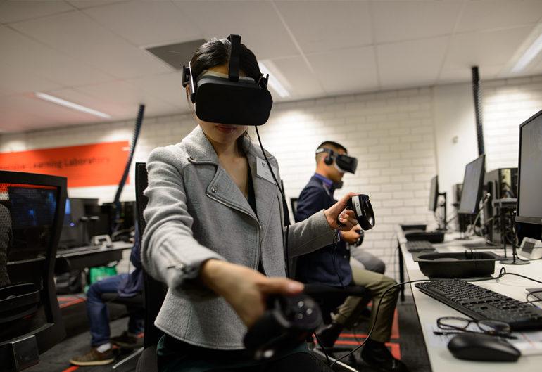 Woman wearing VR headset